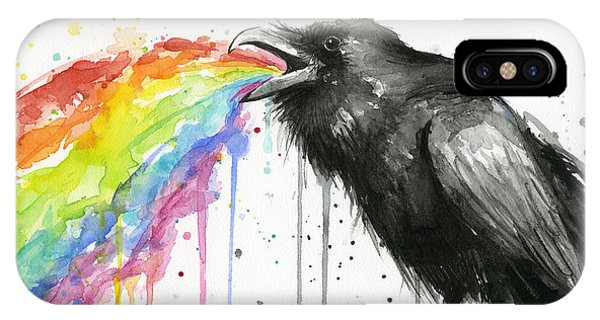 Bird Watercolor iPhone Case - Raven Tastes The Rainbow by Olga Shvartsur