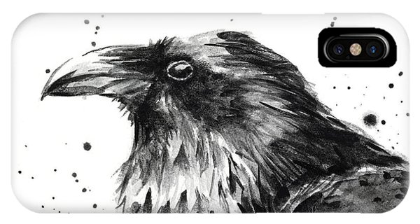 Bird Watercolor iPhone Case - Raven Watercolor Portrait by Olga Shvartsur