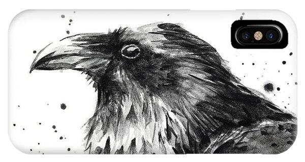 Crow iPhone Case - Raven Watercolor Portrait by Olga Shvartsur