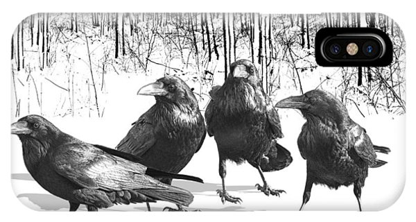 Ravens By The Edge Of The Woods In Winter IPhone Case