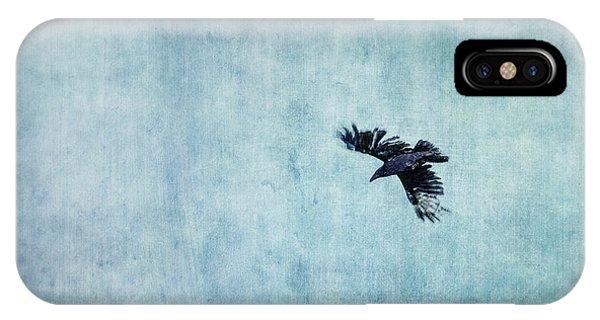 Blue iPhone Case - Ravens Flight by Priska Wettstein