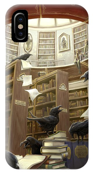 Magician iPhone Case - Ravens In The Library by Rob Carlos