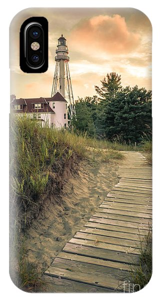Rawley Point Lighthouse Under Smoldering Skies IPhone Case