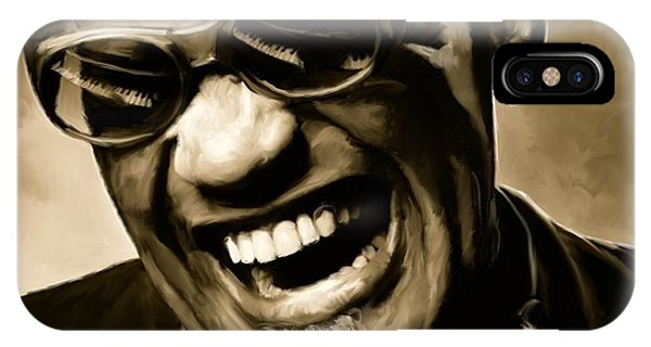 Music iPhone Case - Ray Charles - Portrait by Paul Tagliamonte