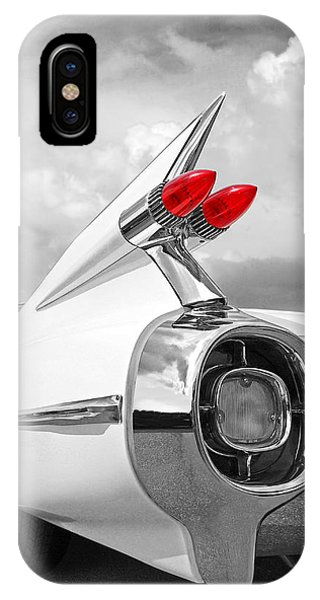 Reach For The Skies - 1959 Cadillac Tail Fins Black And White IPhone Case