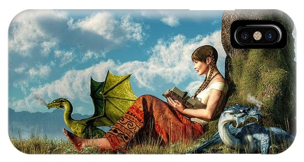 Reading About Dragons IPhone Case