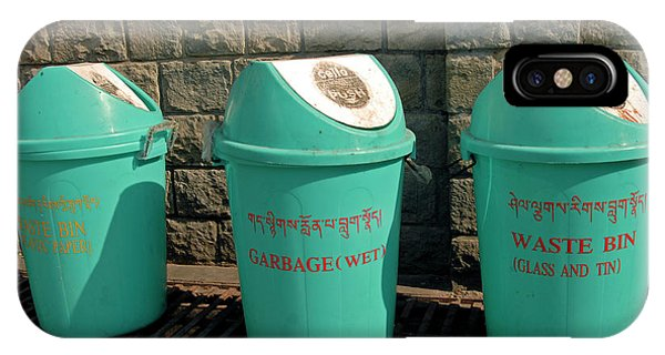 Rubbish Bin iPhone Case - Recycling Bins In A Street by Simon Fraser/science Photo Library