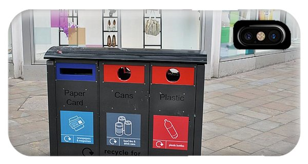 Rubbish Bin iPhone Case - Recycling Bins In Front Of Fashion Shop by Robert Brook/science Photo Library