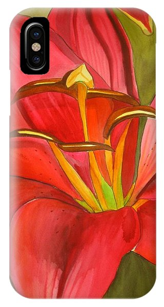 Red Alert Lily Phone Case by Sacha Grossel