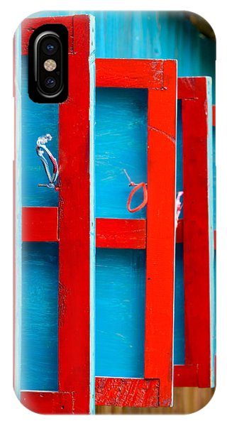 Red And Blue Wooden Shutters IPhone Case