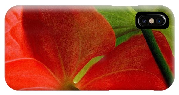 Red And Green Anthurium IPhone Case