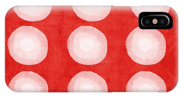 Geometric iPhone Case - Red And White Shibori Circles by Linda Woods