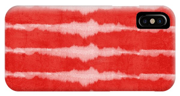 Tribal iPhone Case - Red And White Shibori Design by Linda Woods