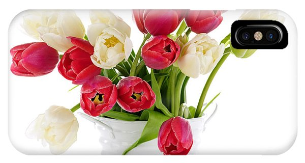 White Tulip iPhone Case - Red And White Tulips by Elena Elisseeva