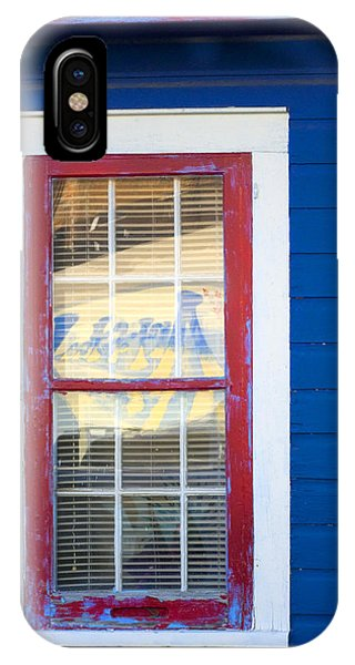 Red And White Window In Blue Wall IPhone Case