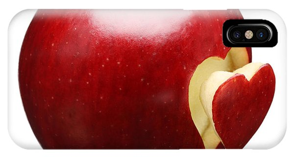 Red Fruit iPhone Case - Red Apple With Heart by Johan Swanepoel