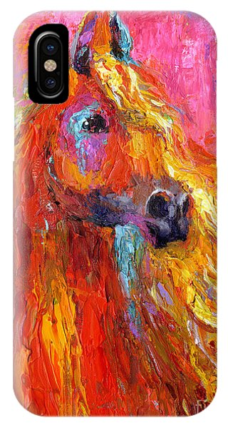 Red Arabian Horse Impressionistic Painting IPhone Case