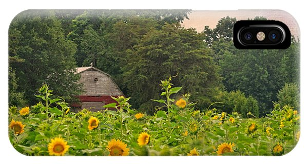 Red Barn Among The Sunflowers IPhone Case