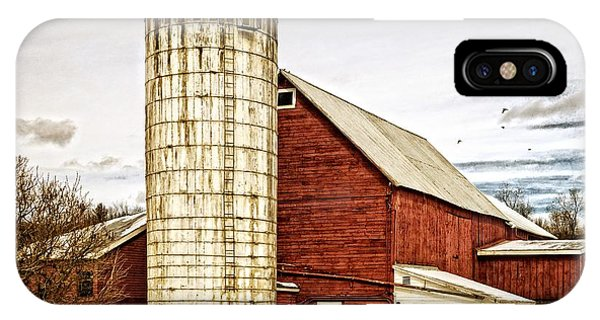 New England Barn iPhone Case - Red Barn And Silo Vermont by Edward Fielding