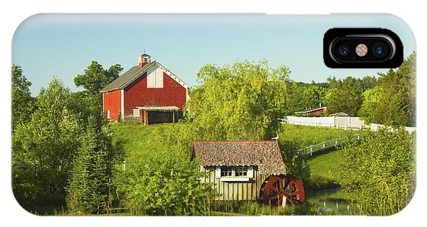 New England Barn iPhone Case - Red Barn And Water Mill On Farm In Maine by Keith Webber Jr