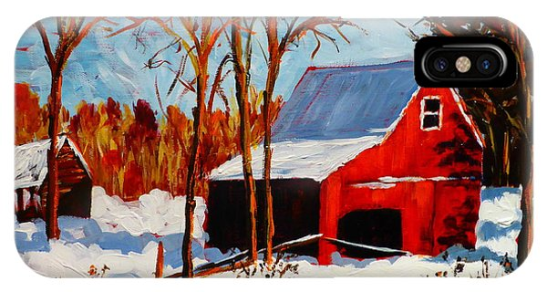 Red Barn First Snow IPhone Case