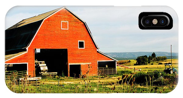 Wheeler Farm iPhone Case - Red Barn In Field Near Joseph, Wallowa by Nik Wheeler