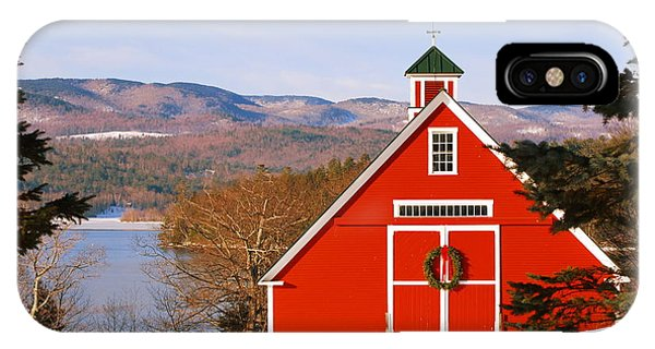 Red Barn On Newfound Lake IPhone Case