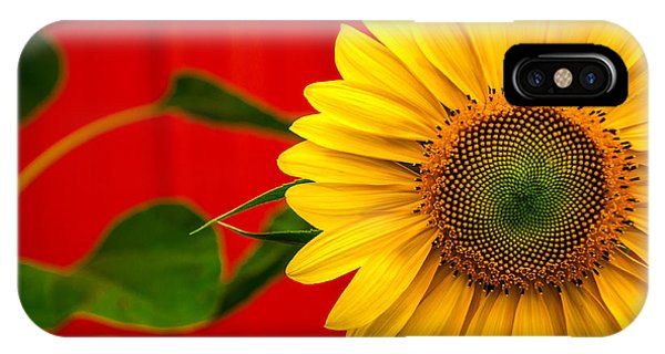 Red Barn Sunflower IPhone Case