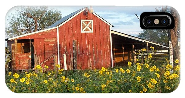 Red Barn With Wild Sunflowers IPhone Case