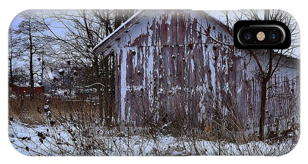 Red Barns In Winter IPhone Case