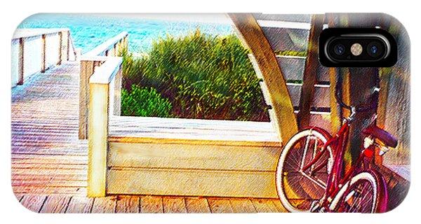 Red Bike On Beach Boardwalk IPhone Case
