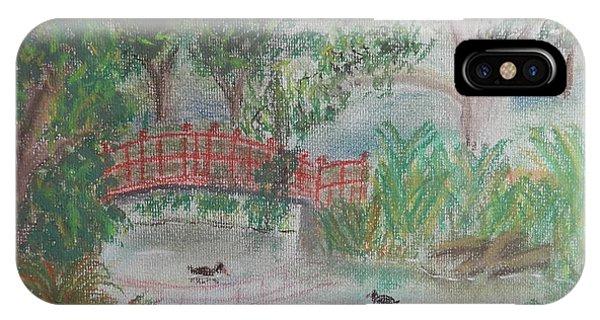 Red Bridge At Wollongong Botanical Gardens IPhone Case
