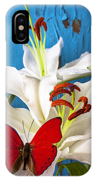 Red Butterfly On White Tiger Lily IPhone Case