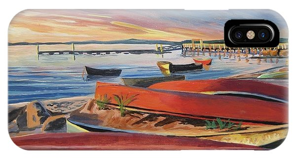 Red Canoe Sunset IPhone Case