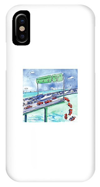 Red Sox iPhone Case - Red Cars Drop Off A Bridge Under A Sign That Says by Michael Crawford
