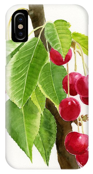 Red Cherries On A Branch IPhone Case