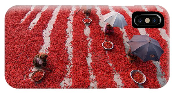 Umbrella iPhone Case - Red Chilies Pickers by Azim Khan Ronnie