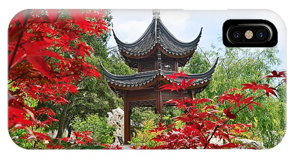 Garden iPhone X Case - Red - Chinese Garden With Pagoda And Lake. by Jamie Pham