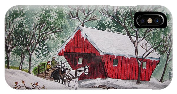 Red Covered Bridge Christmas IPhone Case