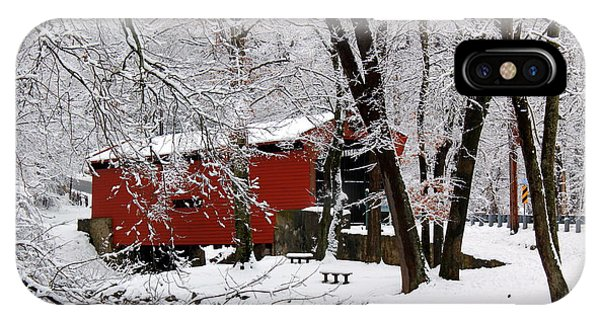Red Covered Bridge Winter 2013 IPhone Case