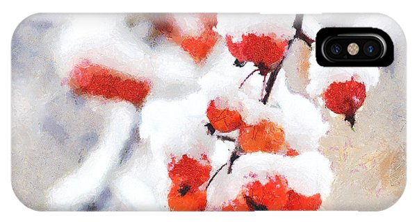 Red Crabapples In The Winter Snow - A Digital Painting By D Perry Lawrence IPhone Case
