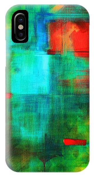 Rectangles iPhone X Case - Red Dash by Nancy Merkle