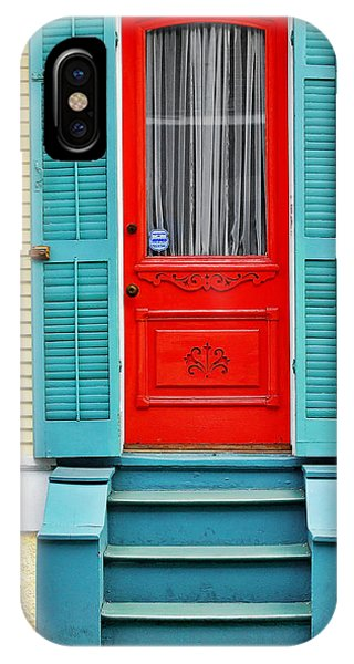 Yellow iPhone Case - Red Door In New Orleans by Christine Till