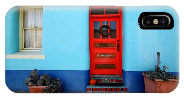 Red Door On Blue Wall IPhone Case