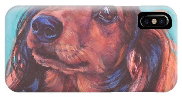 Red Hair iPhone X Case - Red Doxie by Lee Ann Shepard