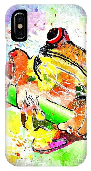 Red Eyed Tree Frog Grunge IPhone Case