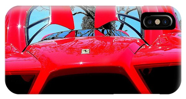 IPhone Case featuring the photograph Red Ferrari Doors Open And Front Air Intakes by Jeff Lowe
