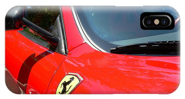 IPhone Case featuring the photograph Red Ferrari Right Side by Jeff Lowe