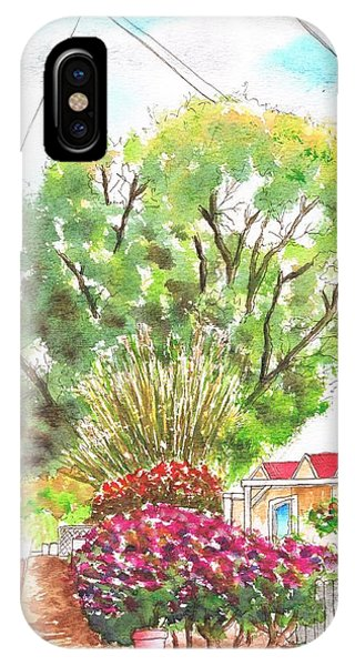 Red Flowers And A Tree In Santa Paula - California IPhone Case