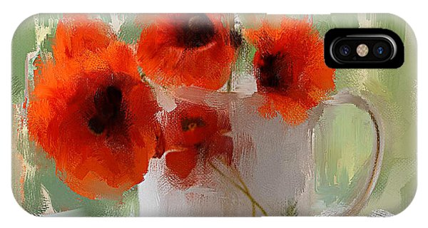 Red Flowers In A Cup IPhone Case